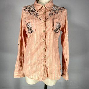 Roar Peach Embroidered Snap Front Shirt Sz M